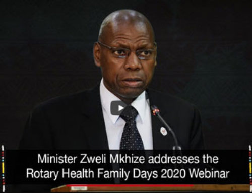 Minister Zweli Mkhize addresses the Rotary Health Family Days 2020 Webinar
