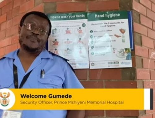 #HealthcareHeroes The importance of sticking to social distancing rules during #Covid19. Security officer Welcome Gumede