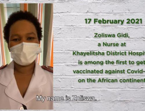Zoliswa Gidi, a Nurse at Khayelitsha District Hospital, is the first nurse to get vaccinated