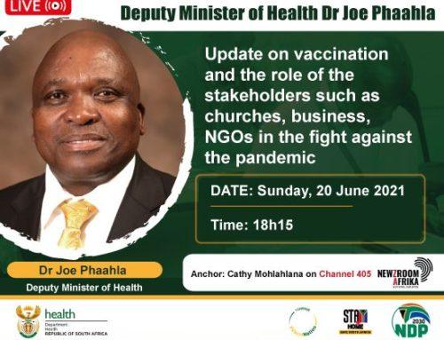 NewzRoom Africa: Deputy Minister of Health, Dr Joe Phaahla: Update on Vaccination