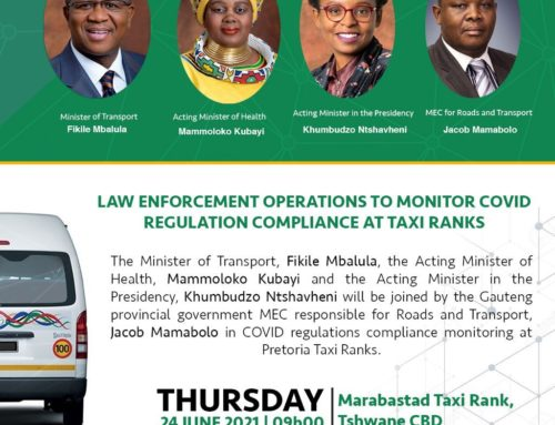 MEDIA ALERT: LAW ENFORCEMENT OPERATIONS TO MONITOR COVID REGULATIONS COMPLIANCE IN TAXI RANKS