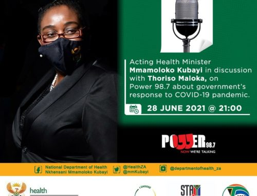 Power 98.7fm – Acting Health Minister Mmamoloko Kubayi in discussion with Thorisa Maloka