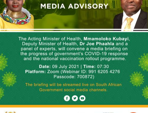 Recording: VIRTUAL MEDIA BRIEFING ON COVID-19 UPDATE AND THE VACCINATION ROLLOUT PLAN (9th July 2021)