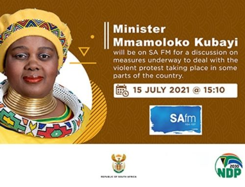 SA fm:   Minister Mmamoloko Kubayi on measures underway to deal with the violent protests