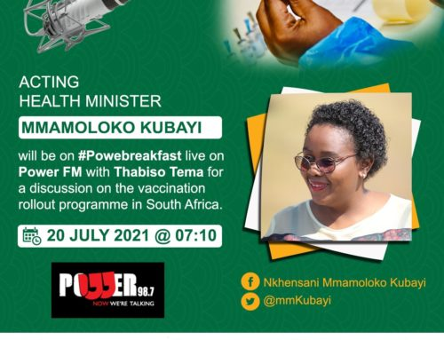 Power FM – Acting Health Minister Mmamoloko Kubayi to discuss vaccination rollout