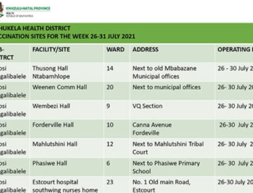 KwaZulu-Natal Vaccination sites 26 July to – 1 August