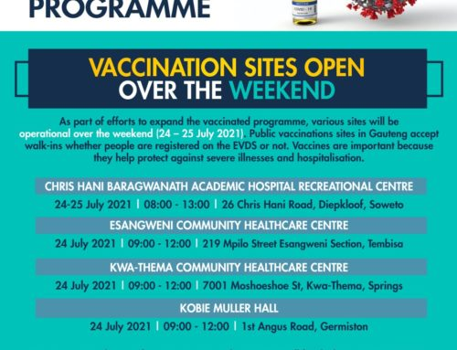 Vaccination sites open this weekend (24-25 July 2021)